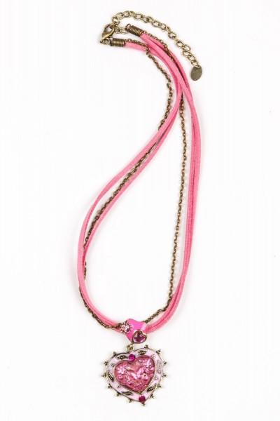 Trachtenkette Herzanhänger, pink