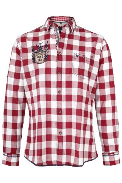 Trachtenhemd Karl, weiß/bordeaux