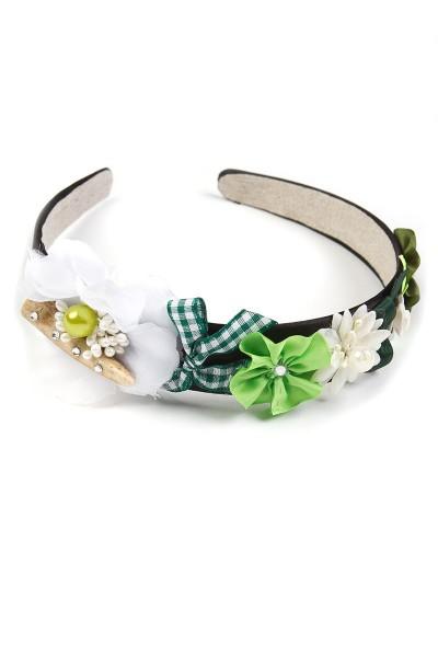 Trachten Haarreif Glückskind, weiß/grün