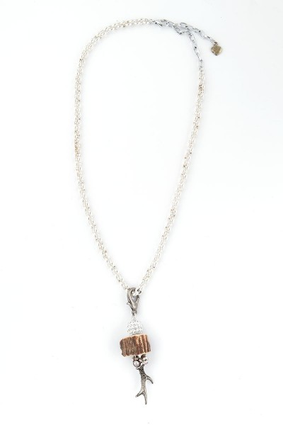 Trachten Halskette Rehröschen, silber