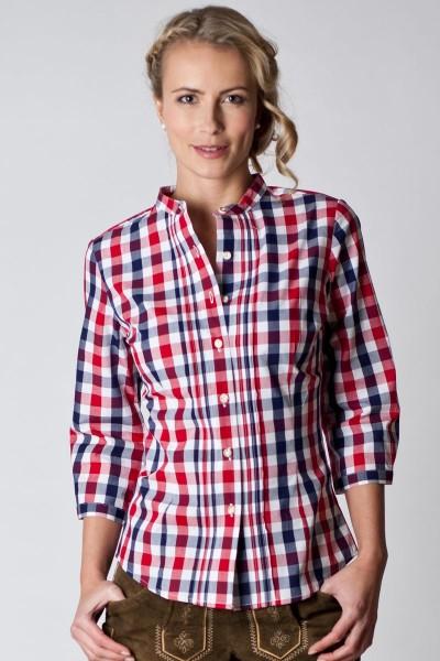 Trachten Bluse Gabriella, blau/rot