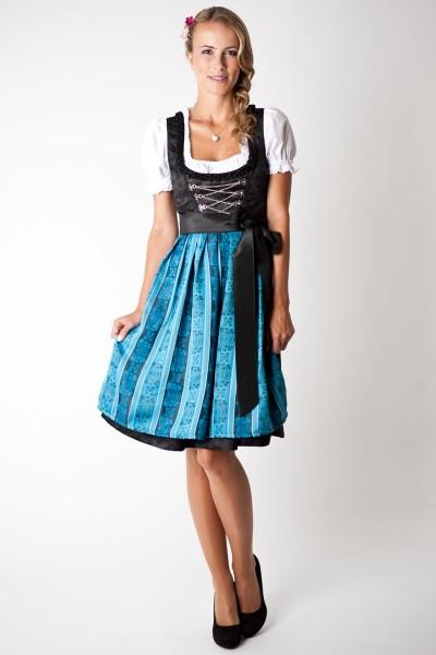 Trachten Dirndl-Set Loretta midi, schwarz/ hellblau gestreift
