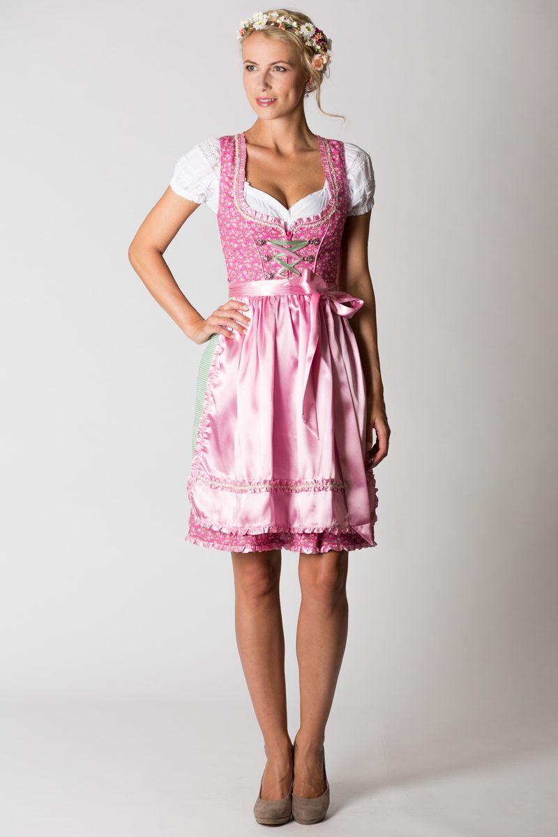 mini dirndl yvonne pink rosa gr n alpenfee online. Black Bedroom Furniture Sets. Home Design Ideas