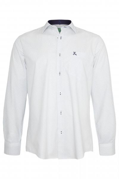 Trachtenhemd Basil, weiß/marine