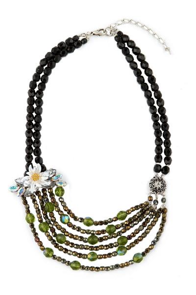 Trachten Halskette Märchenwald, schwarz/silber