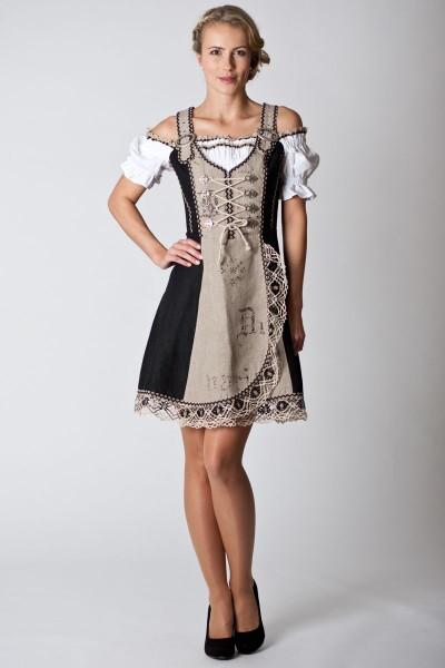 Trachten Kleid Kamilla, beige/schwarz