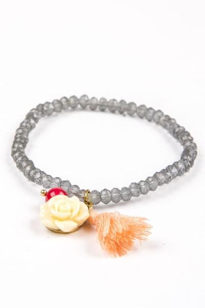 Trachtenarmband mit Rose, grau