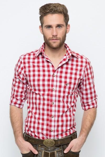 Trachtenhemd Nico, rot/weiss