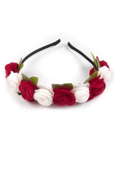 Trachten Haarreif Blütenzauber, rot/weiß