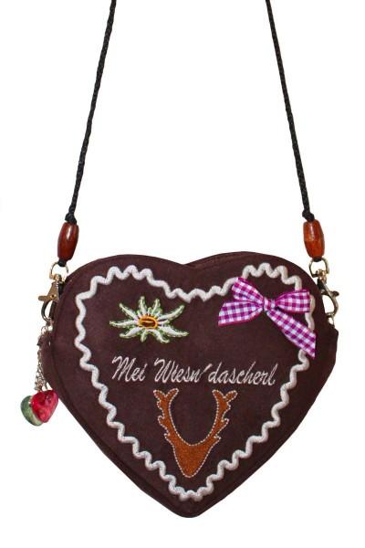 Trachten-Tasche Heidi, braun/pink