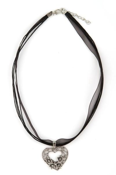 Trachten Halskette Herz mit Blümchen, schwarz