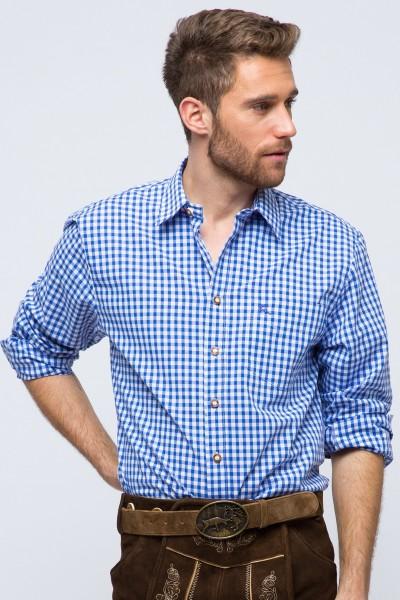 Trachtenhemd Schwabing, blau/weiß