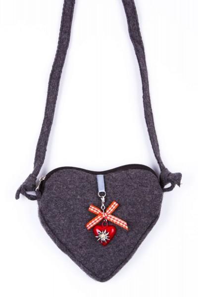Trachtentasche Sissi, grau/rot