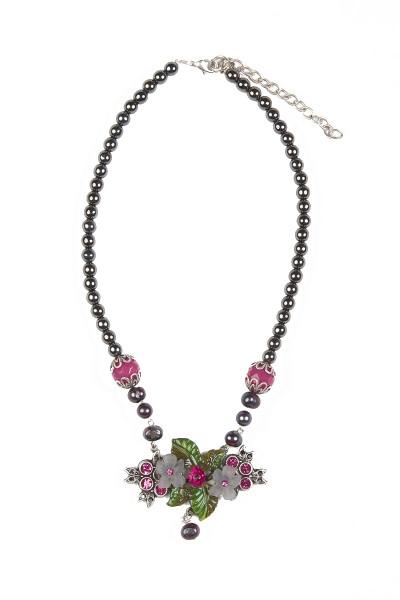 Trachtenkette Blütenschön, grau/pink