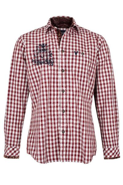 Trachtenhemd Rudolf, weiß/rot