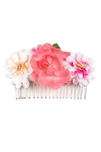 Trachten Haarkamm Blumenkind, rosa/weiß