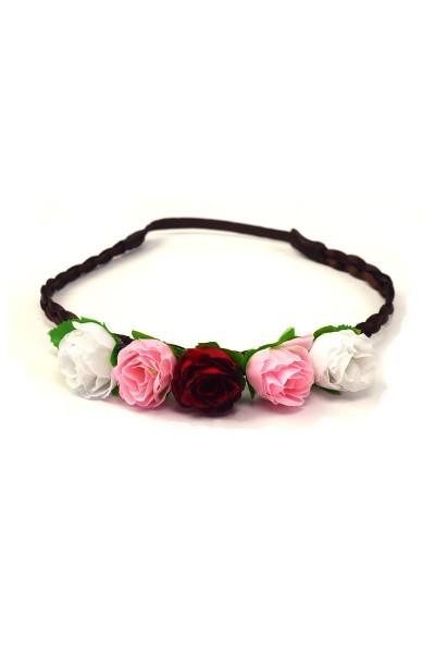 Trachten Kopfband Röschen, rot/rosa/weiß