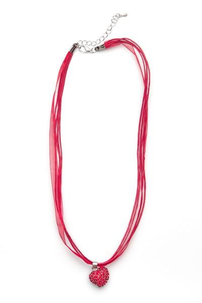 Trachtenkette kleines Herz mit Strass, rot