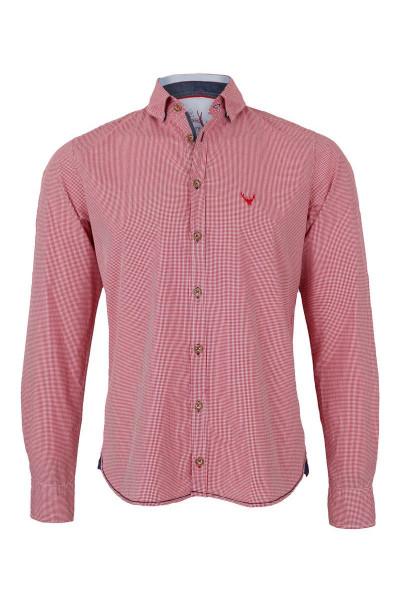 Trachtenhemd PURE slimfit, rot/karo