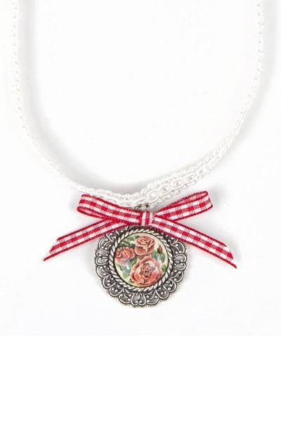 Trachten Halskette Rosenkönigin, rot/weiß