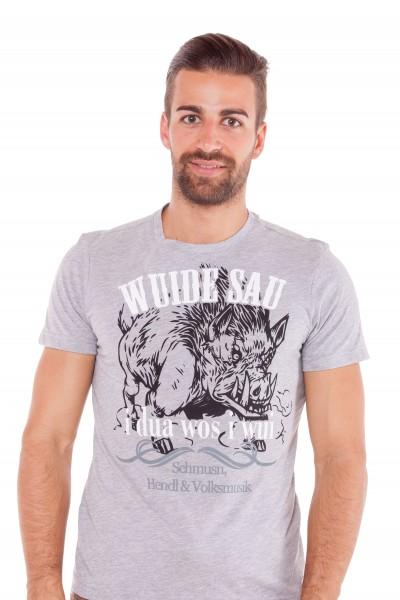 Herren Trachten Shirt Anton, grau