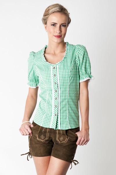 Trachtenbluse Miriam, grün/weiß