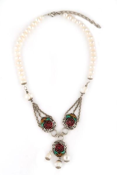 Trachten Halskette Rosarot, weiß/silber