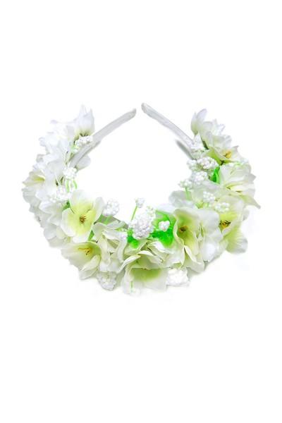 Trachtenhaarreif Blumensüß, weiß