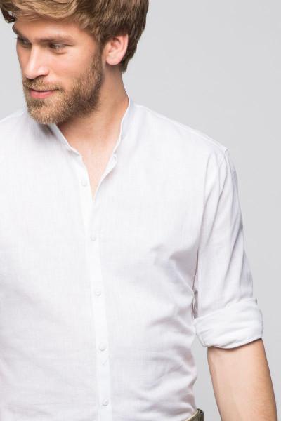 Trachtenhemd Leon, weiß, Leinen