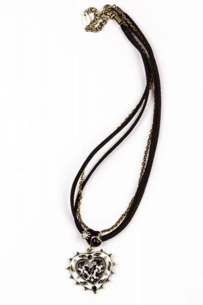 Trachtenkette Herzanhänger, schwarz