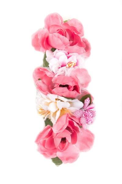 Trachten Haarspange Blumenkind, rosa/weiß