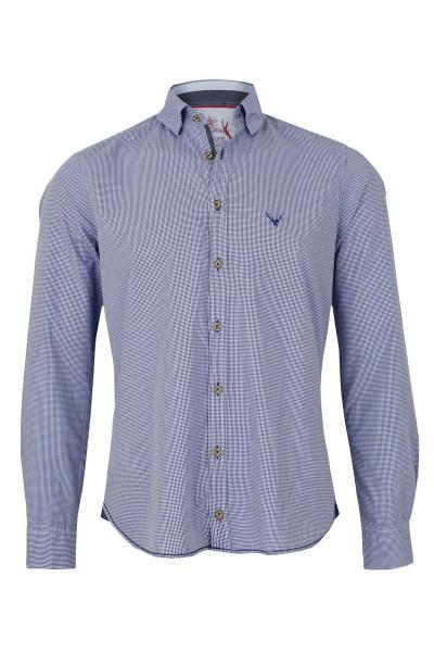 Trachtenhemd PURE slimfit, blau/karo
