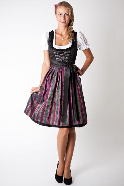 Trachten Dirndl-Set Loretta midi, schwarz/beere apfelgrün