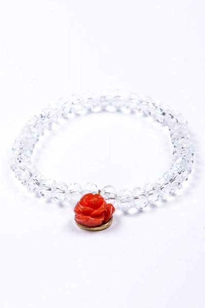 Trachtenarmband mit roter Rose, kristall