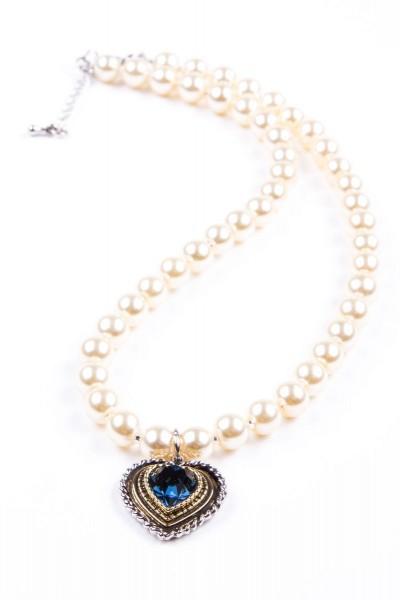 Trachtenkette Perlen mit Herz, perlmutt blau