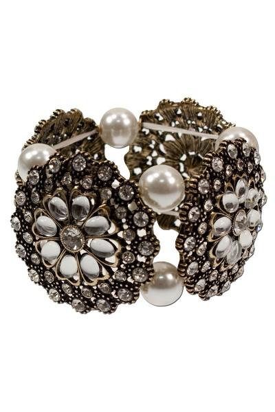 Armband Perlenblüte, creme/weiß