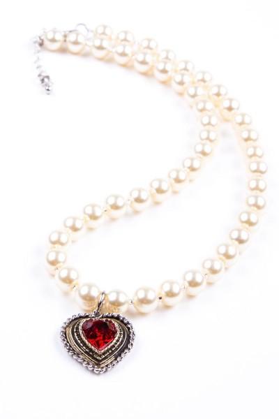 Trachtenkette Perlen mit Herz, perlmutt/rot