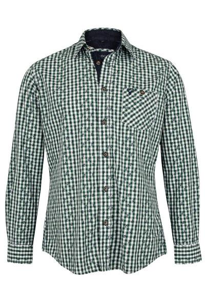 Trachtenhemd Rudolf, grün/weiß