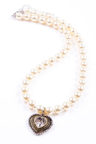 Trachtenkette Perlen mit Herz, perlmutt/weiß