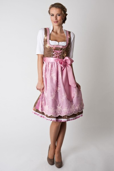 Dirndl Holly, braun/rosa