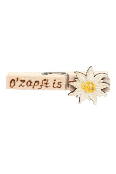"""Wiesn Zwickerl """"Ozapft is"""" Edelweiss, weiß"""