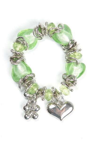 Trachtenarmband Herzdame, grün