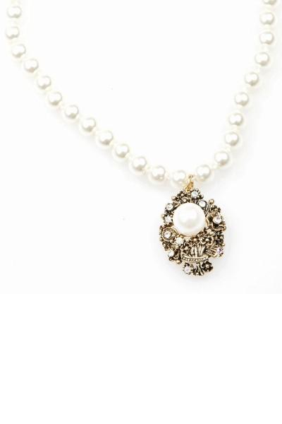 Trachten Halskette Perlenhimmel, weiß