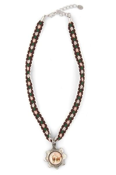 Trachten Halskette Wintertraum, braun/weiß
