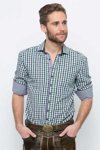 Trachtenhemd Emanuel, blau/grün