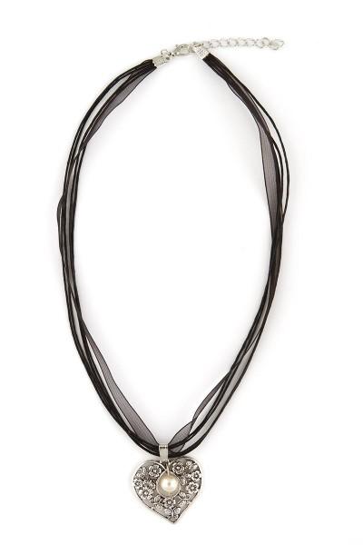 Trachten Halskette Herz mit Perle, schwarz