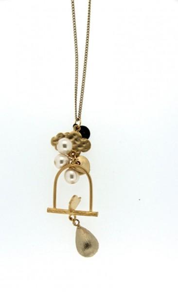 Trachtenkette Petit Bascule, gold/weiß
