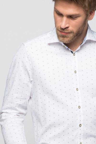 Trachtenhemd Maxim, weiß/blau