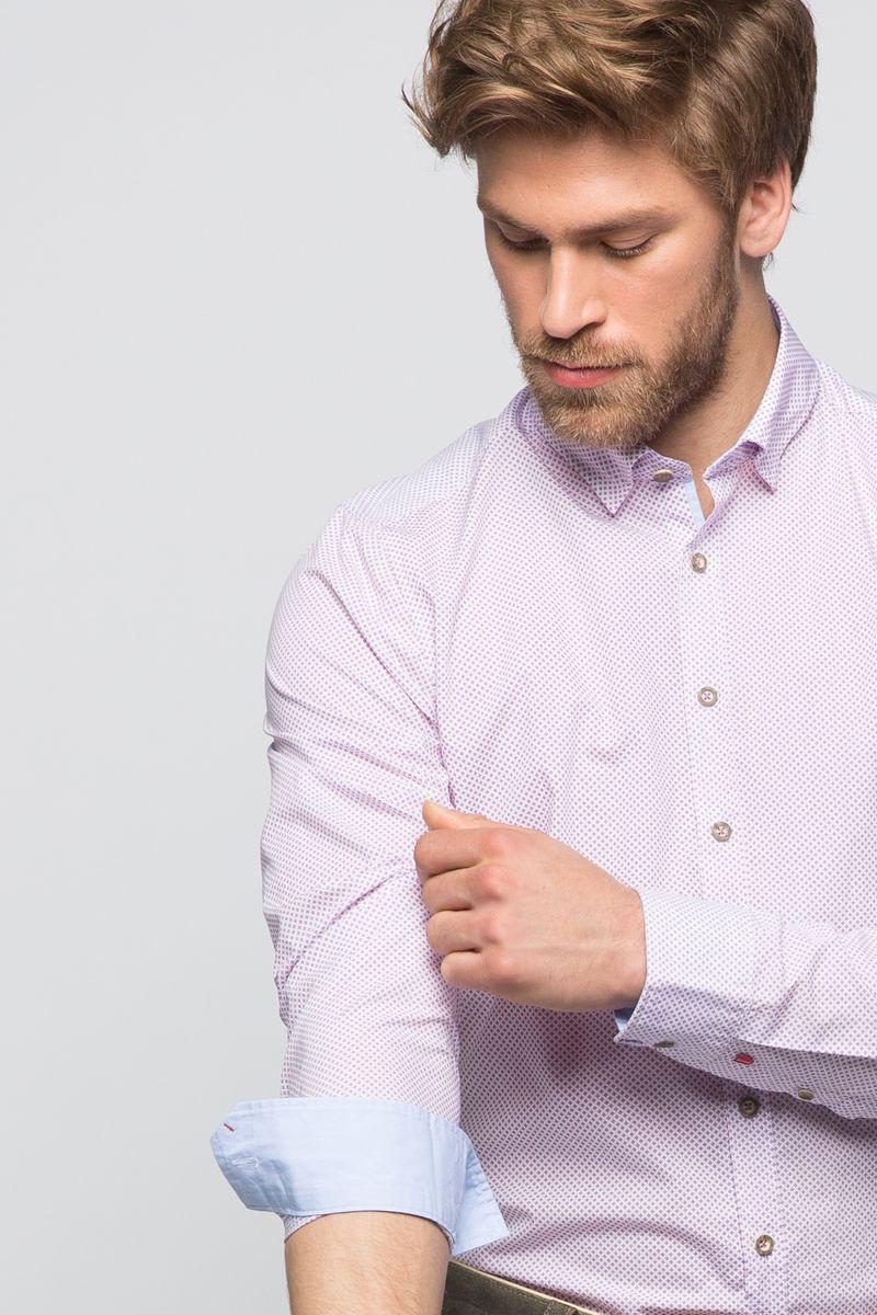 Trachtenhemd Maxim Weiß/flieder