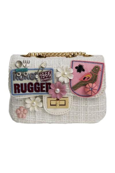 Trachtentasche Rugger, weiß/gold/rose